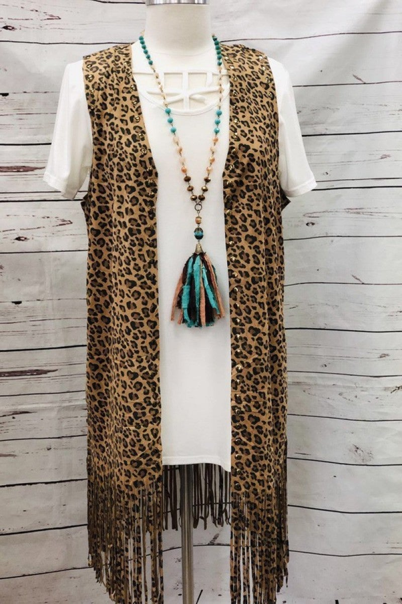 Lovely Day Leopard Fringe Vest - Sizes 4-20