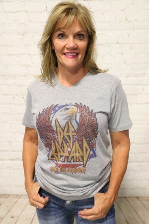 ***PRE-ORDER*** Classic Def Leppard Rocks The Amerikas V-Neck Graphic Tee in Gray ~ Sizes 4-18