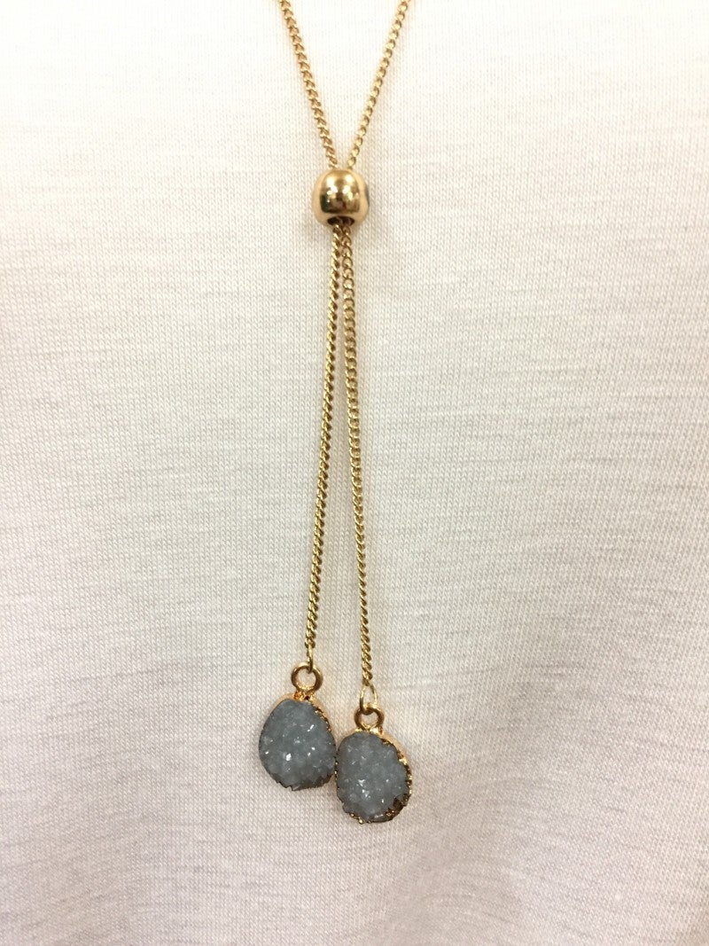 Take It Easy Druzy Stone Necklace In Slate Blue