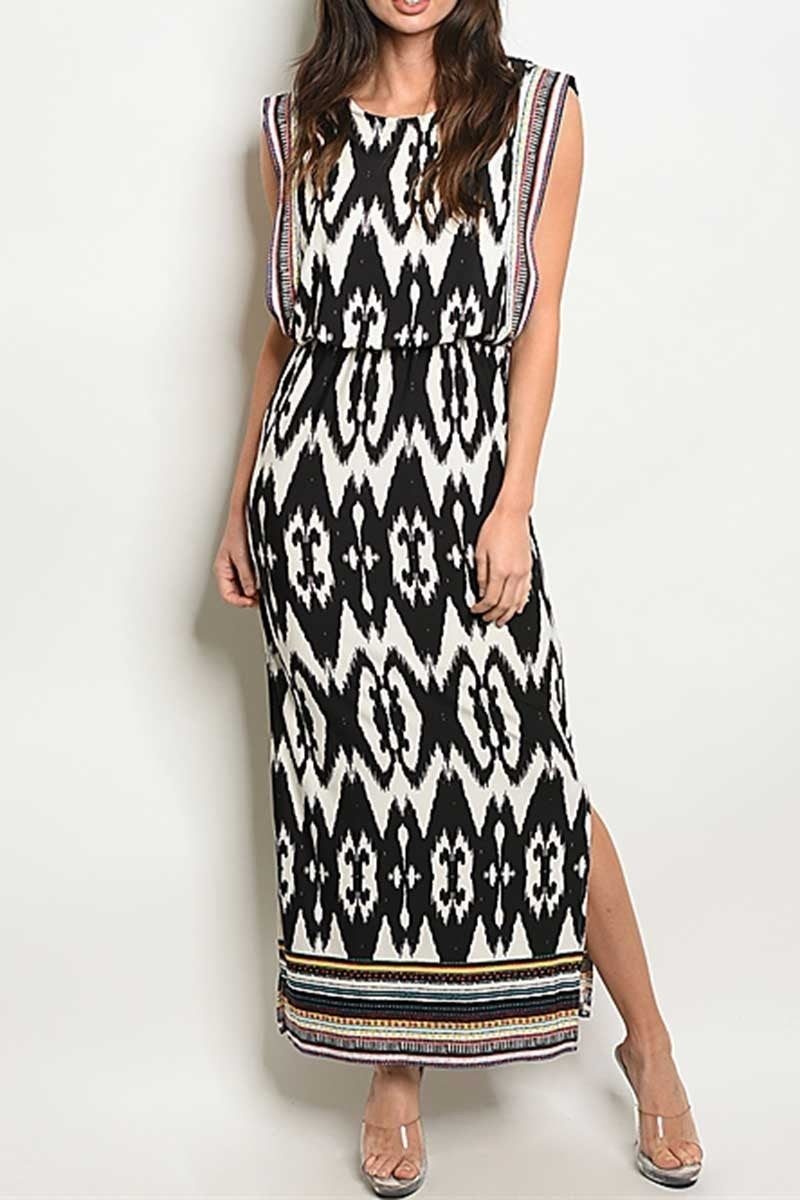 Lost On You Tribal Maxi in Black & White - Sizes 4-10