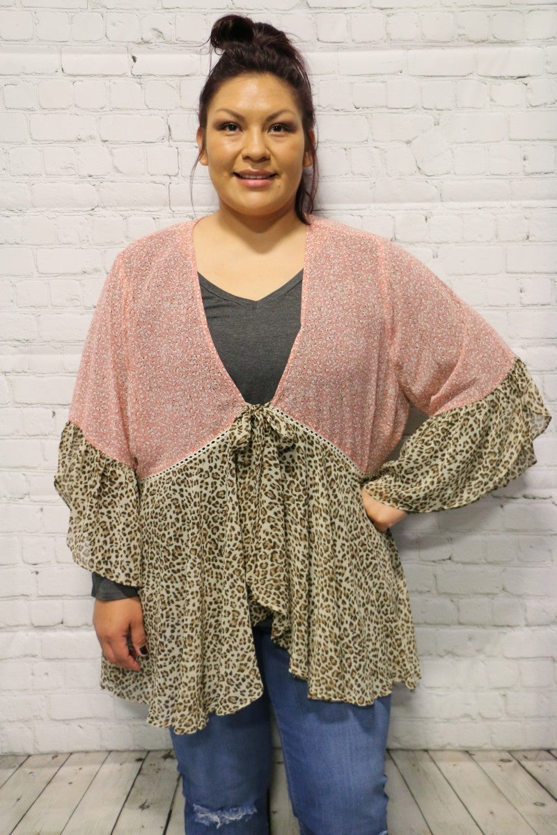 Into You Tie Kimono In Dusty Pink - Sizes 12-18