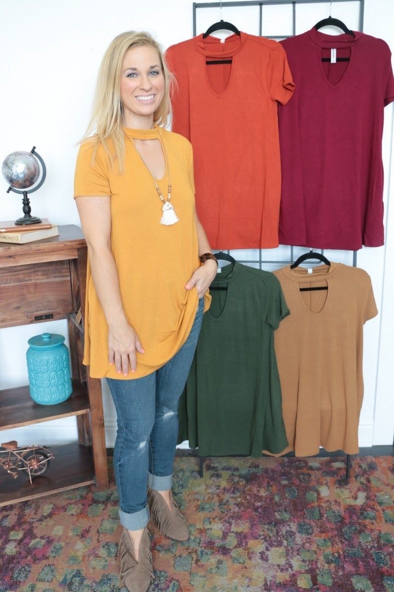 Spice It Up Top With Keyhole And Pockets - Multiple Colors- Sizes 4-12