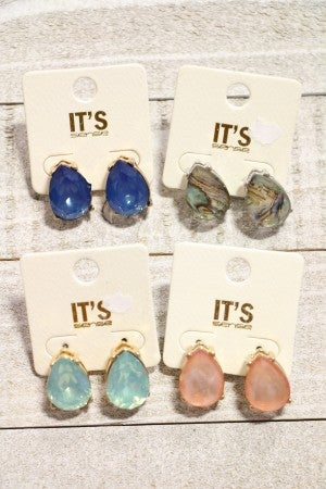 Take Me Home Gem Teardrop Stud Earring In Multiple Colors