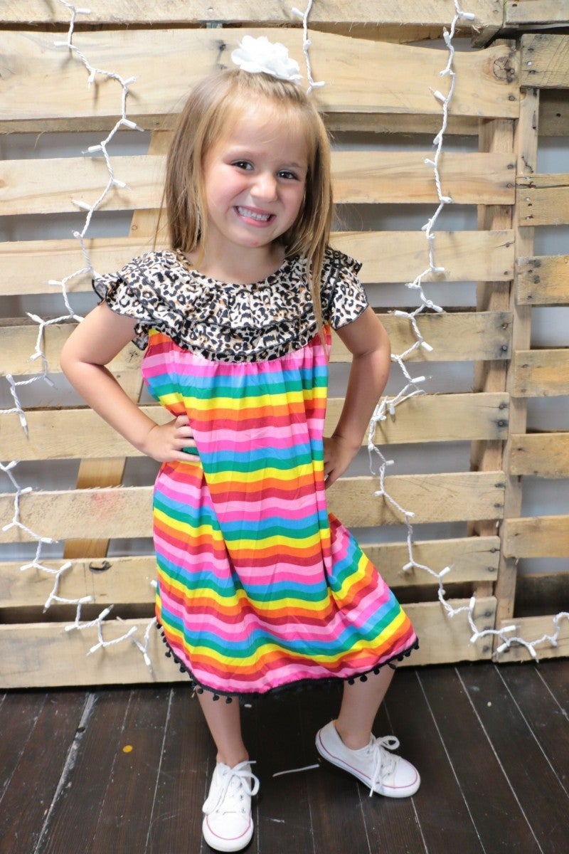 Somewhere Over The Rainbow Kids Leopard and Striped Dress in Multi Color