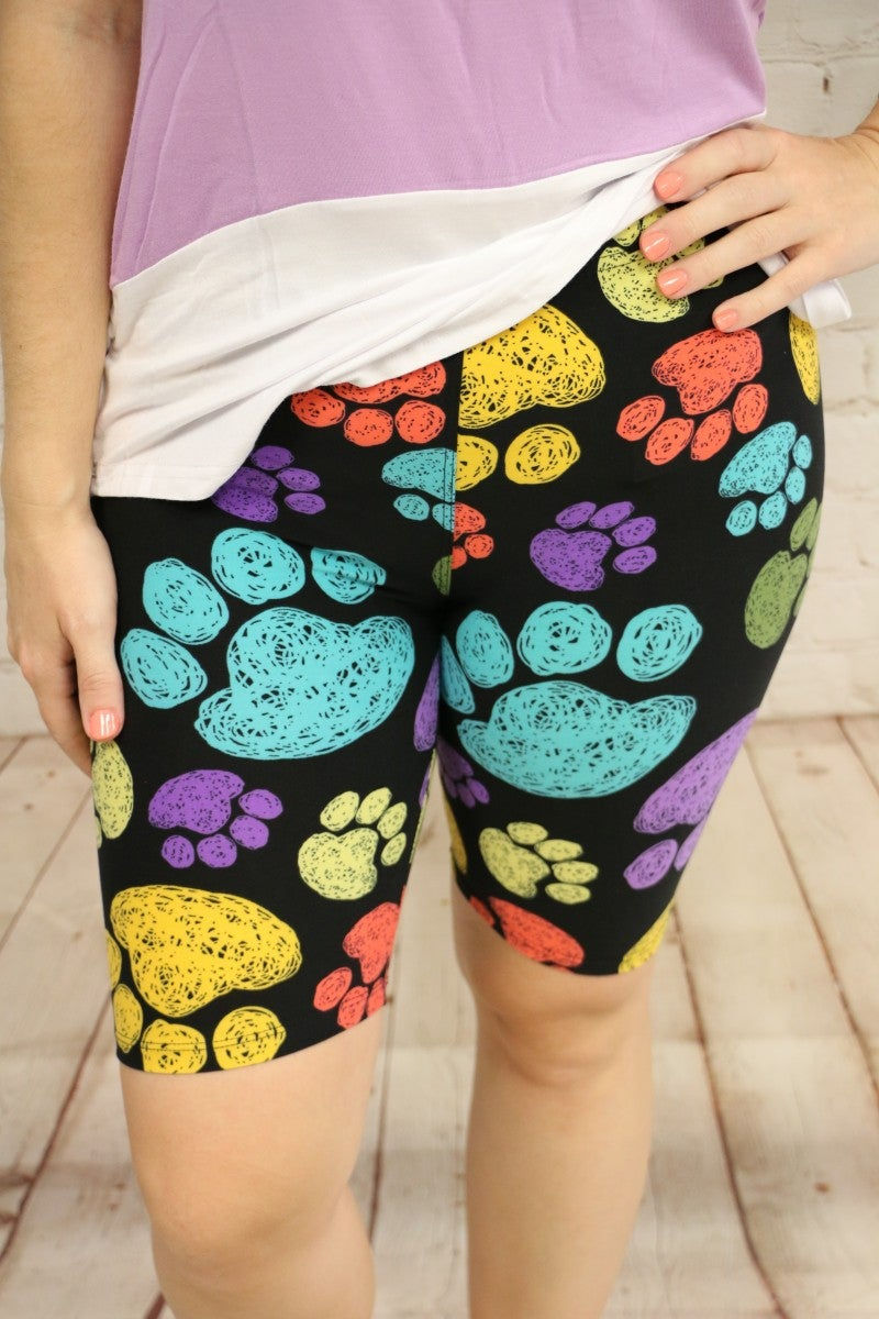 Walk Around Town Multicolor Paw Print Biker Shorts- Sizes 4-20