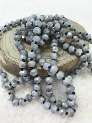 The Point Of Perfection Beaded Necklace - Light Gray