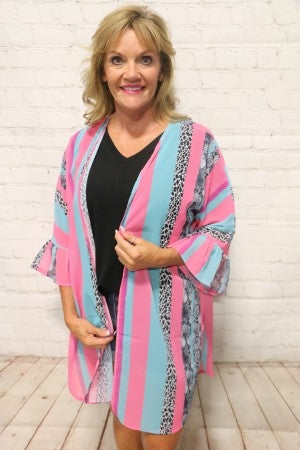 Going Places Brightly Vertical Striped Cardigan with Leopard and Snake Skin - Sizes 4-20