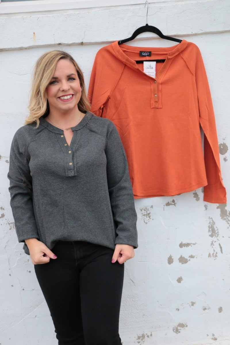 The Walker Waffle Knit V-Neck with Accent Buttons in Multiple Colors Sizes 4-10