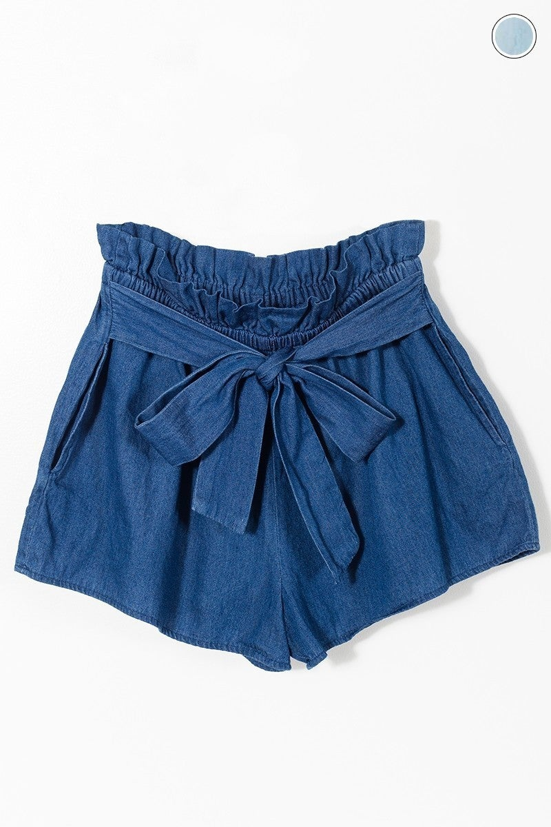 Missing You Denim Shorts with Tie Waist - Sizes 4-10