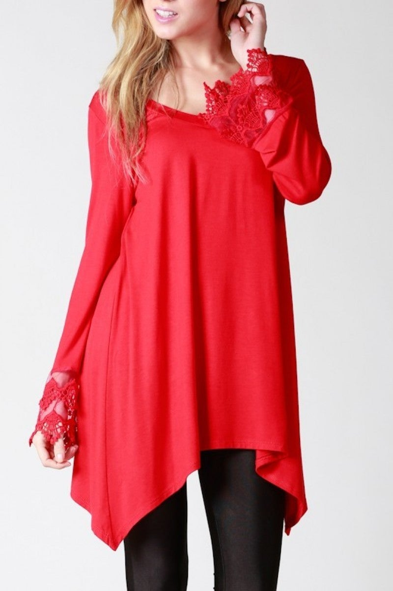 Curiosity Is Crucial Basic Long Sleeve Basic With Lace Sleeve - Multiple Colors - Sizes 4-10