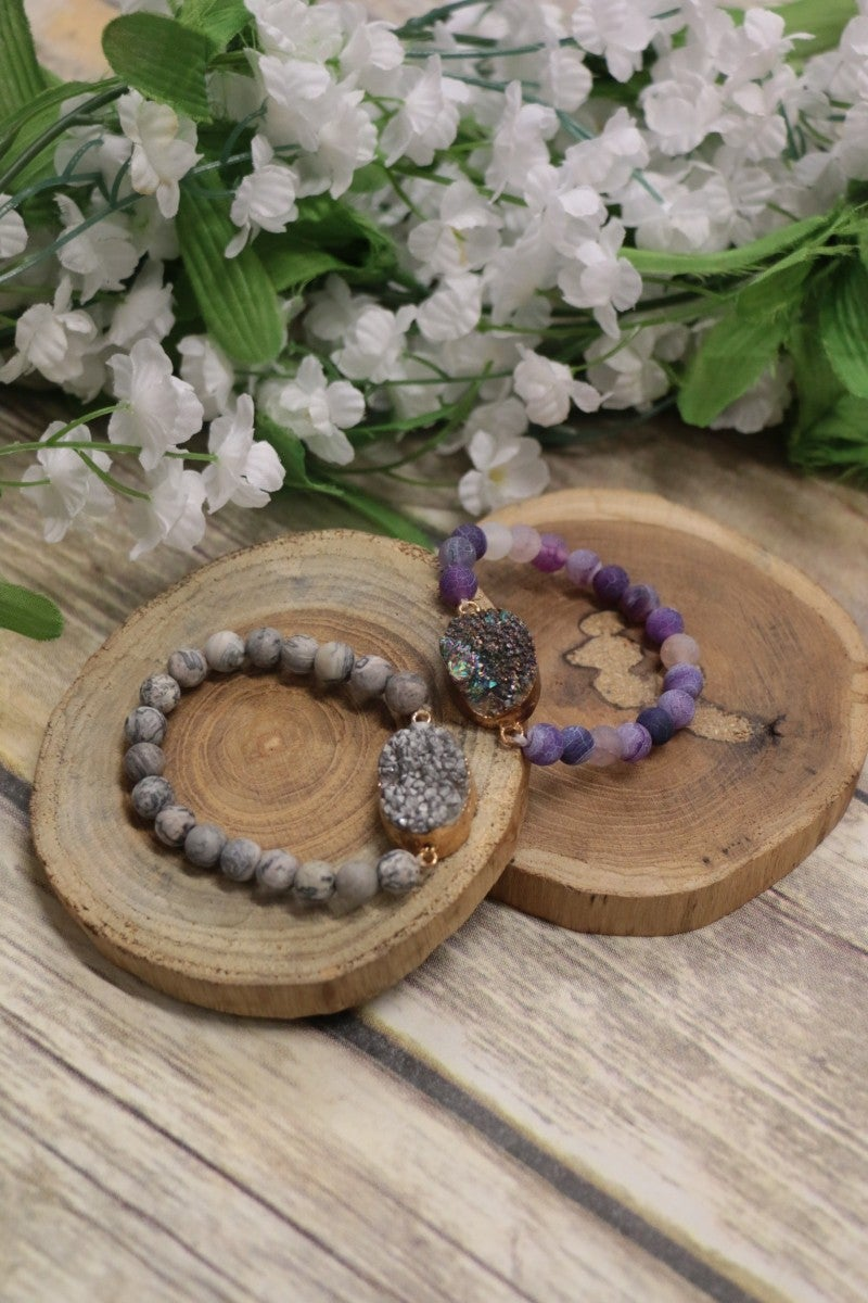Long Way Home Beaded Druzy Stone Bracelet In Multiple Colors