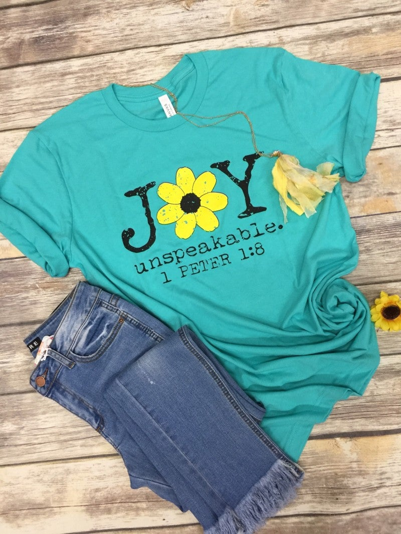 Unspeakable Joy 1 Peter 1:8 Graphic Tee In Aqua - Sizes 4-20