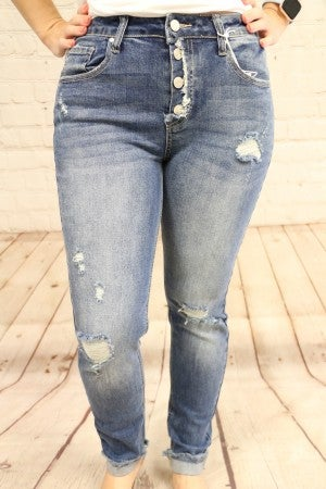 The Wendy Medium Denim Distressed Button Up Jeans- Sizes 4-20