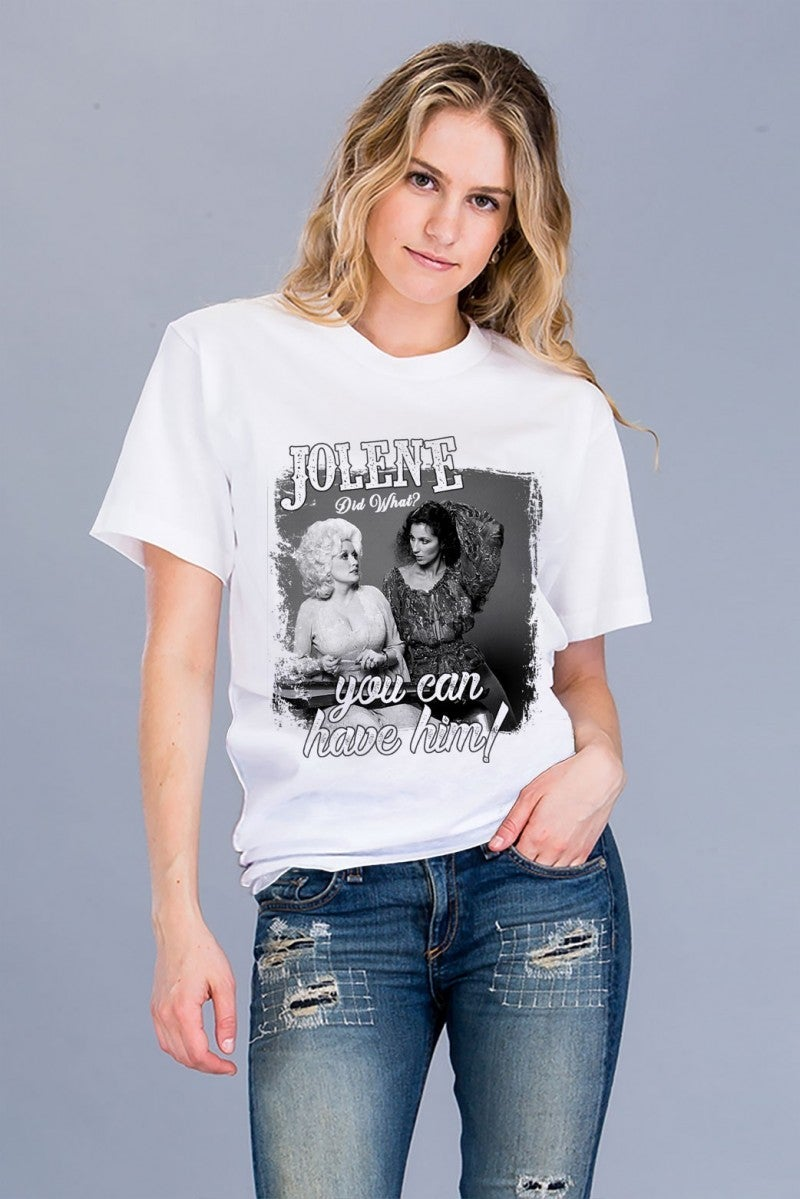 Jolene Did What? Dolly Tee in White - Sizes 4-18
