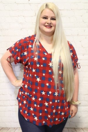 I'm Seeing Stars Super Soft Tie Sleeve Top in Red ~ Sizes 4-20