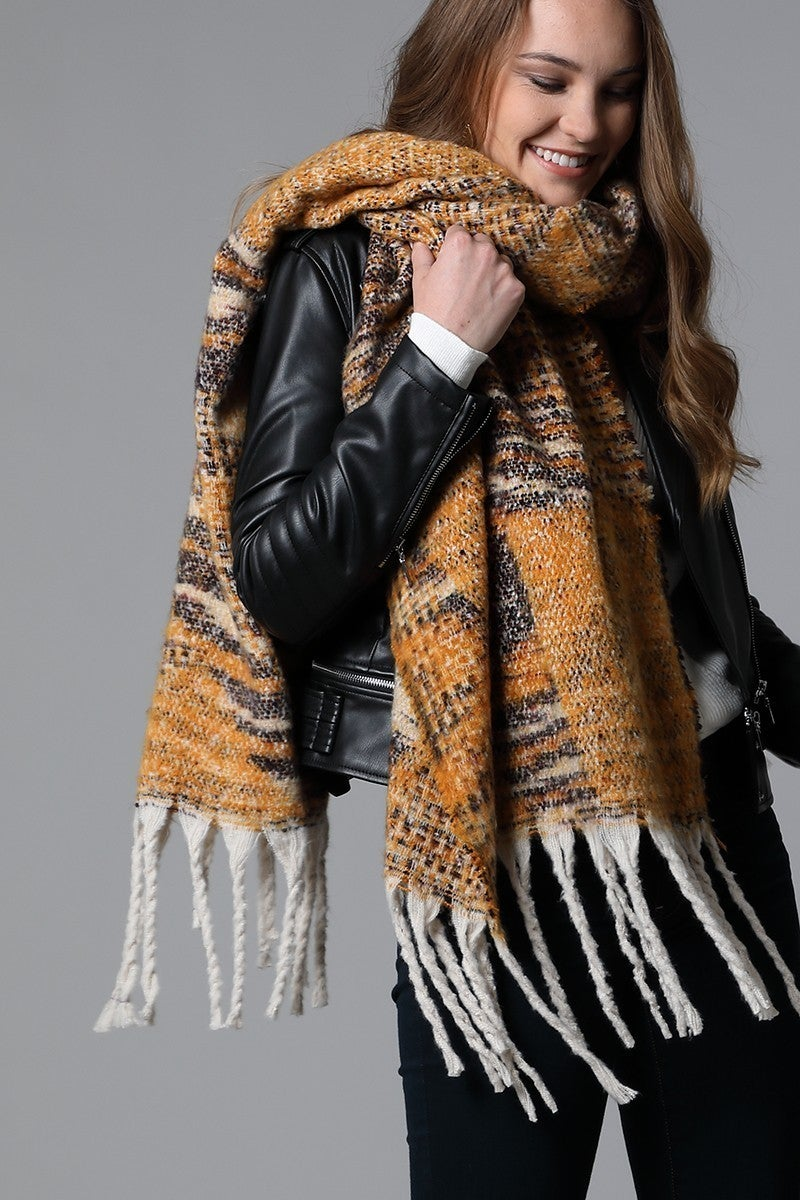Holy Moly It's Soft Printed Tassel Scarf In Mustard
