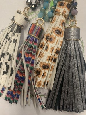 Have Your Back Beaded Necklace With Leather Tassel - Multiple Prints
