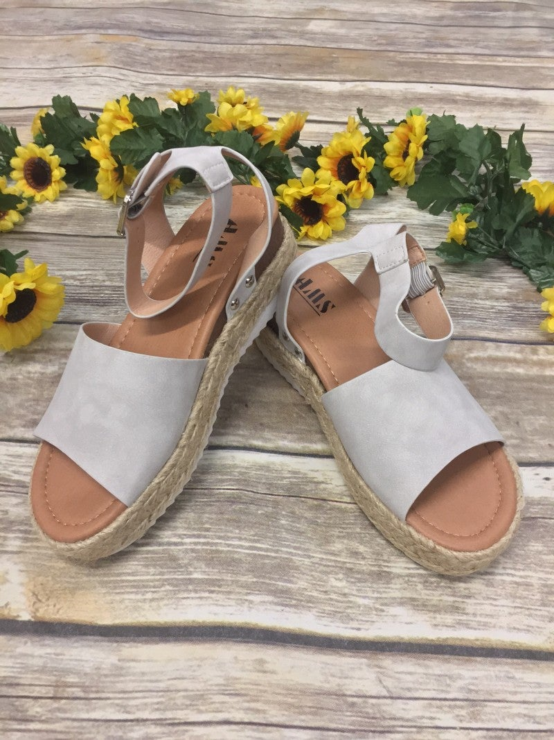 One Step Higher Espadrille Sandals - Gray