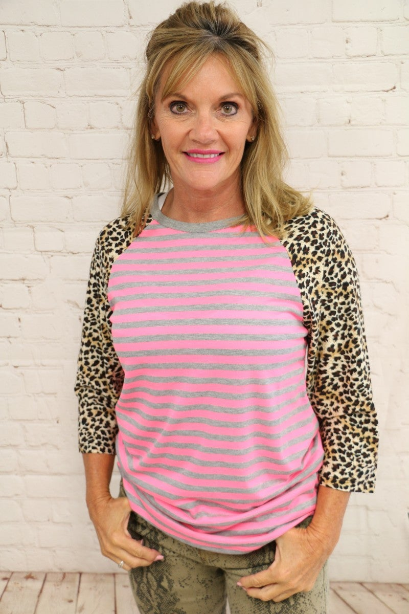 Neon Pink & Gray Striped Raglan with Leopard Sleeves - Sizes 4-20