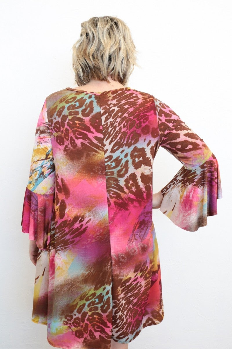 You Look So Happy Animal Print Dress With Bell Sleeves In Fuchsia