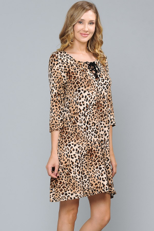 All I Want Leopard Dress with Lace Up V-Neck - Sizes 20-30