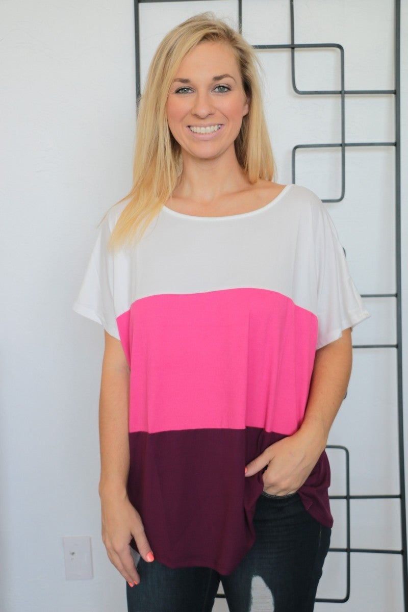 My Best Self Pink Color Block Top- Sizes 4-10