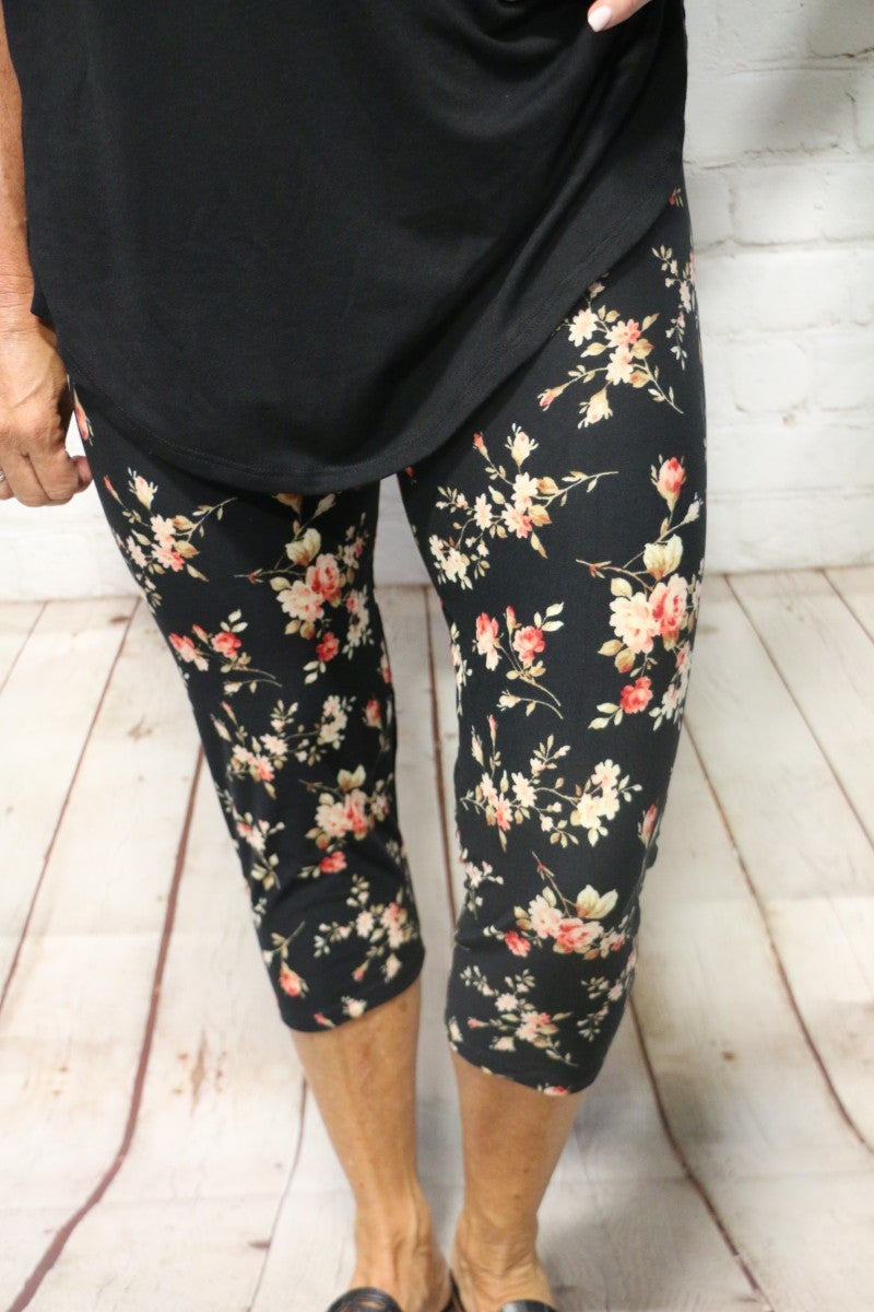 One Day at a Time Black Floral Capri Legging - Sizes 4-12