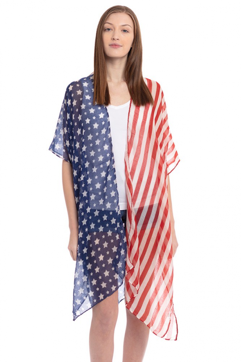 Let Freedom Ring Flag Themed Kimono - One Size Fits All - Sizes 4-20