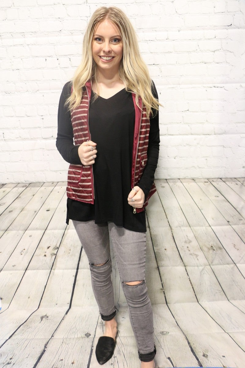 Hand It To You Striped Vest In Maroon - Sizes 4-10