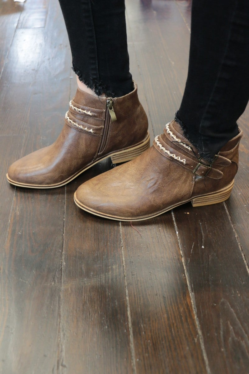In My Mind Buckle Booties With Woven Detail In Brown