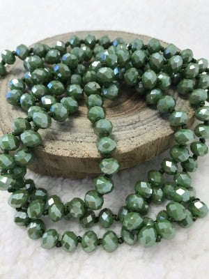 Point of Perfection Beaded Necklace in Sage