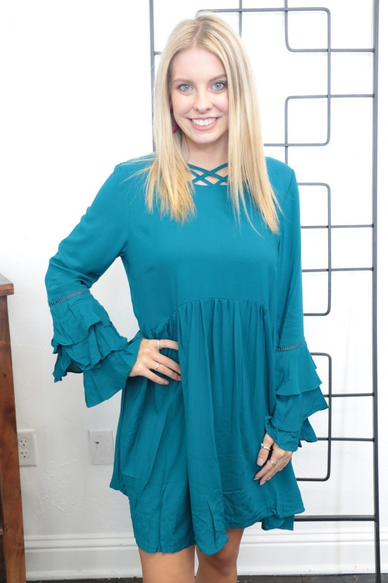 Take Step One Flowy Tunic In Teal- Sizes 4-18