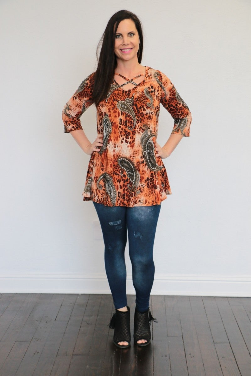 Run Free Paisley & Animal Print 3/4 Sleeve Top In Cinnamon - Sizes 4-20