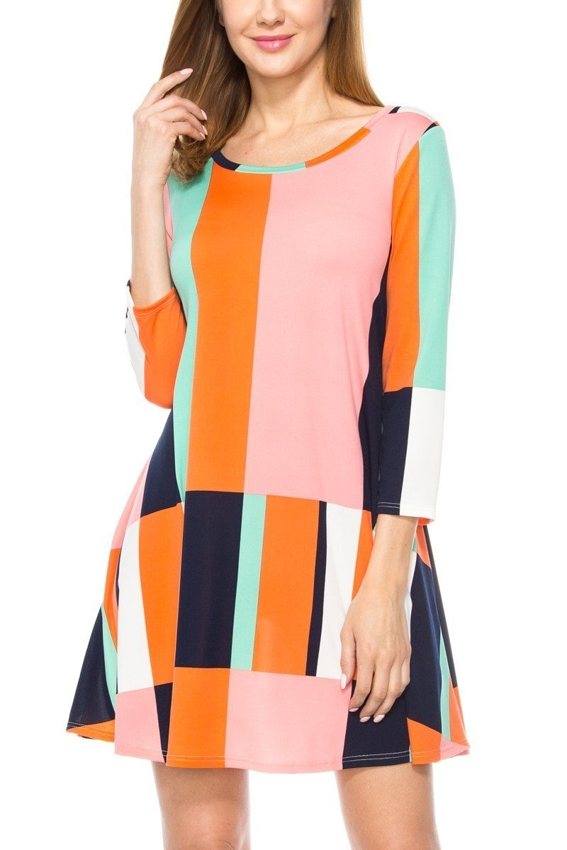 Always So Cheery Colorblock Dress - Sizes 4-20