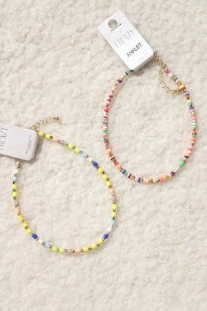 Keep Moving Multicolor Disc and Gold Bead Ankle Bracelet In Multiple Colors