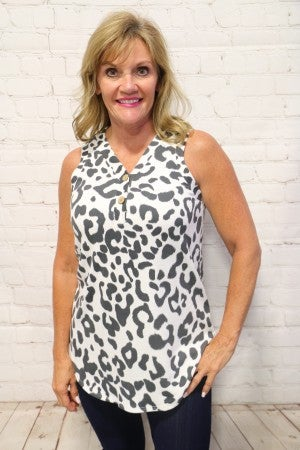 Be Mine White Leopard Super Soft Tank With Button Detail- Sizes 4-12