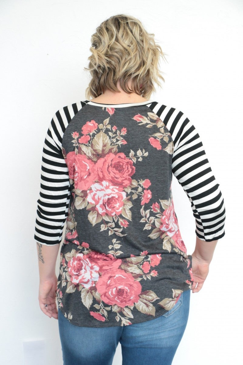 Makes Me Happy Floral & Striped Top - Sizes 12-20