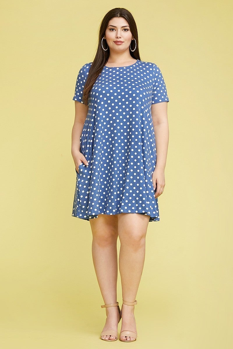 Hate To Break It To you Short Sleeve Polka Dot Dress - Multiple Colors - Sizes 12-20