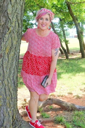 Sweetest Day Red Floral Tiered  Short Sleeve Dress with Buttons - Sizes 4-10