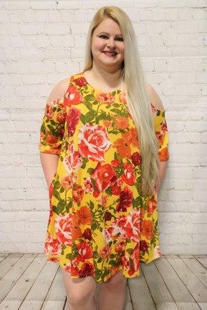 Floral Days Mustard Cold Shoulder Dress- Sizes 12-20