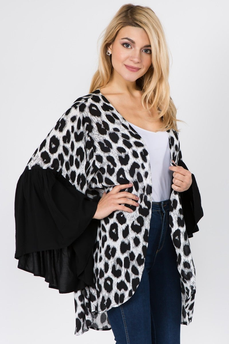 Leopard For Days Solid Sleeve Kimono in Multiple Colors