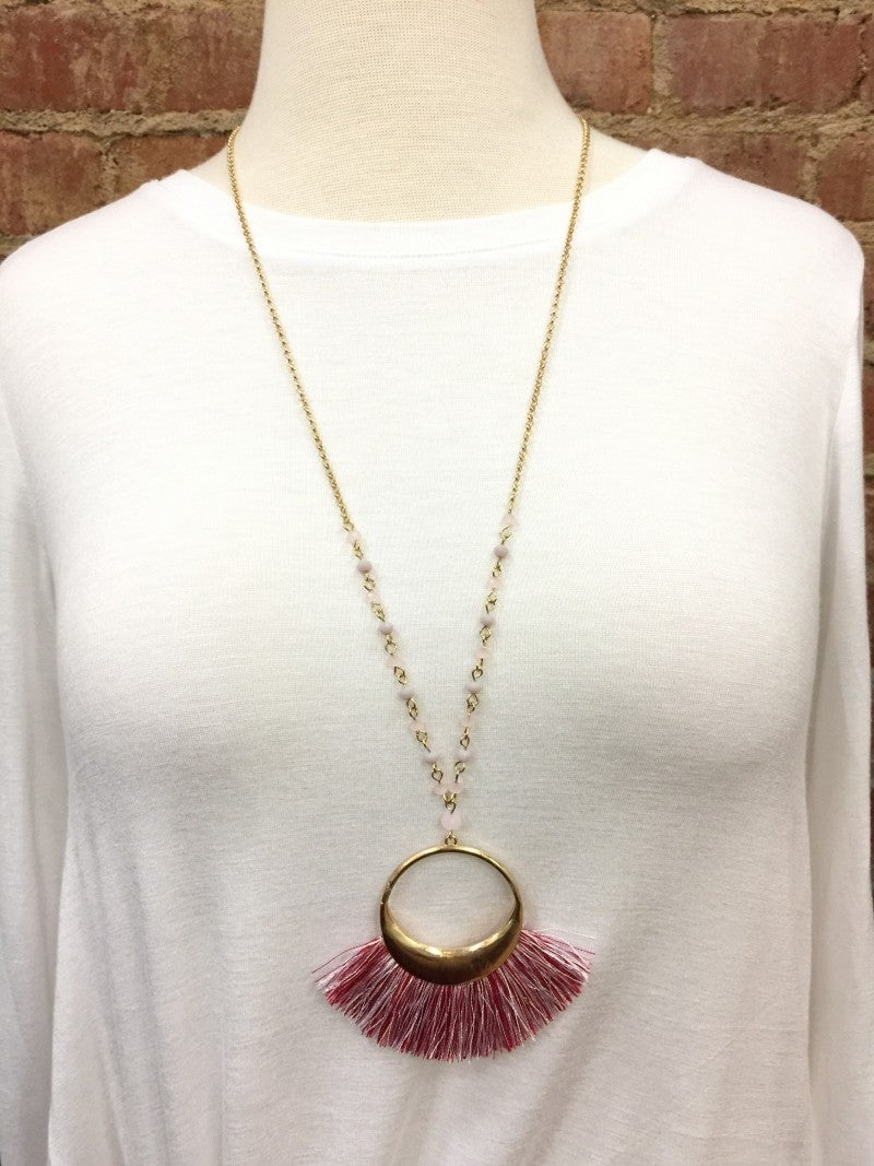 Remember This Circle Tassel Necklace- Hot Pink