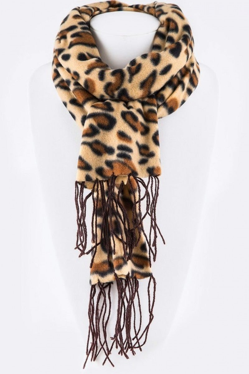 We Love Leopard Scarf With Fringe Ends - Multiple Colors