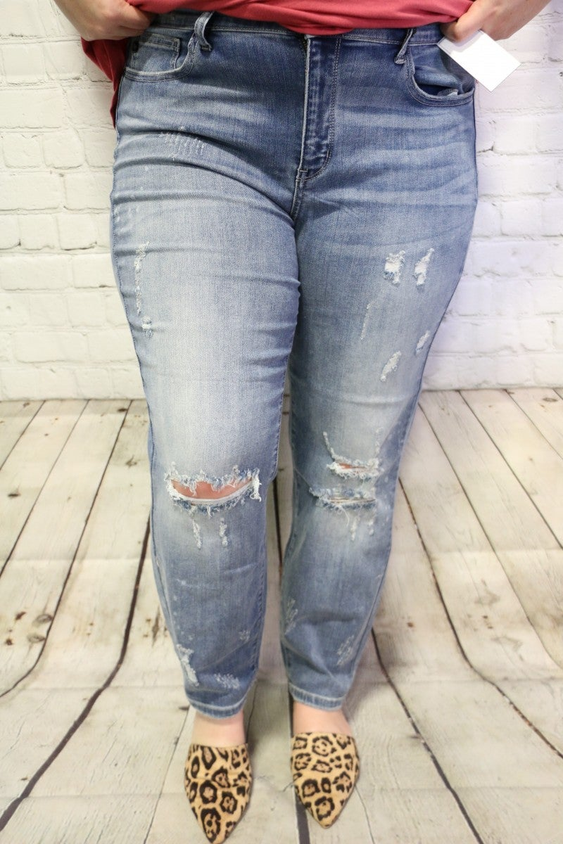The June  Bleach Splashed Distressed Denim-Judy Blue- Sizes 16-22