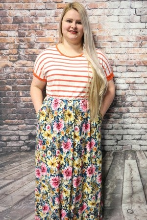 Take My Hand Stripe & Floral Maxi In Multiple Colors- Sizes 4-20 *Final Sale*