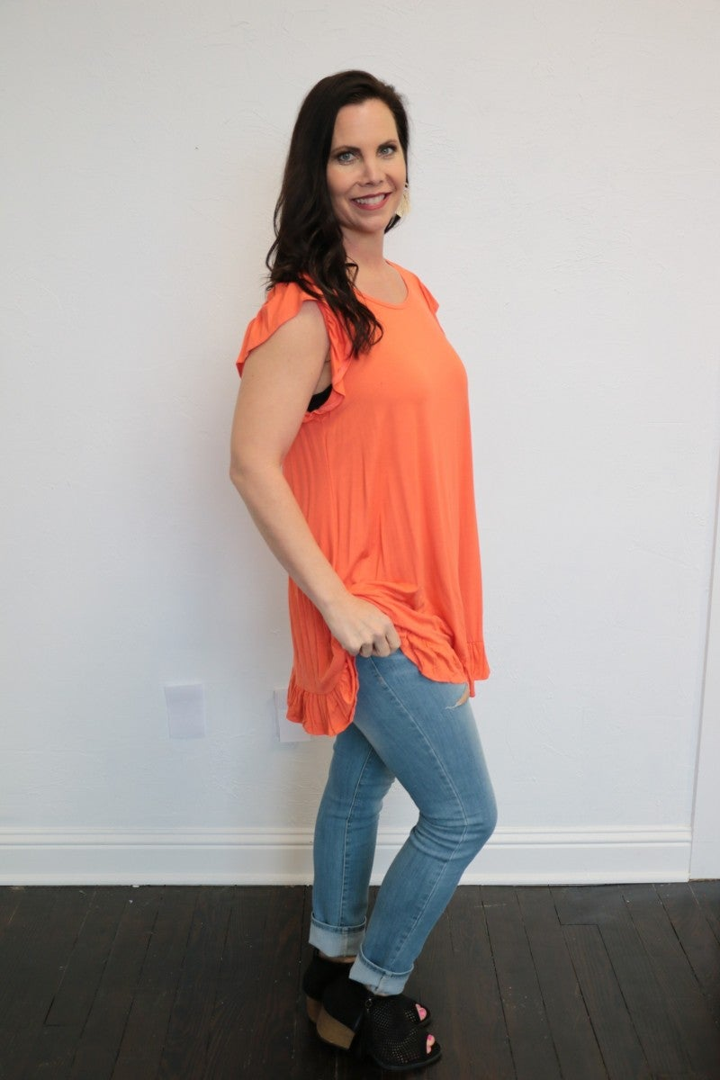Which Way To Up Flutter Sleeve Top With Ruffle Hem In Coral - Sizes 4-12