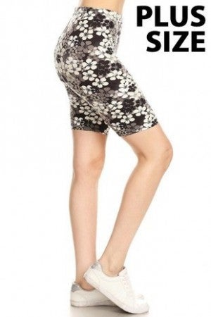 This Way Black & White Floral Biker Shorts- Sizes 4-20