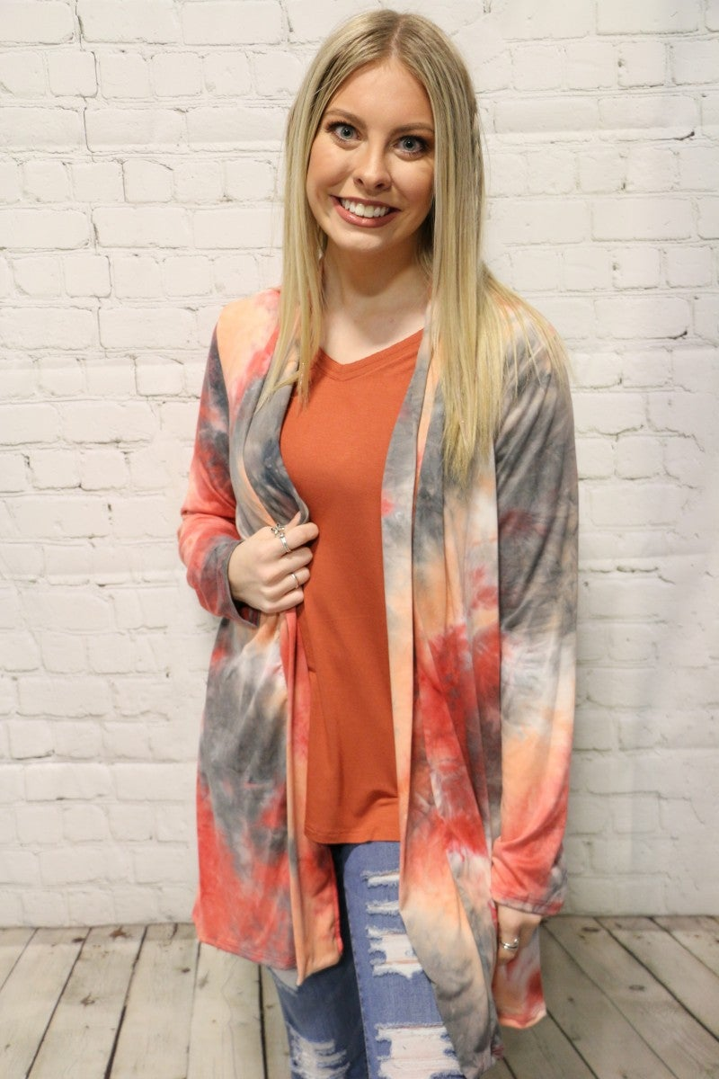 She's So Great Tie Dye Cardigan In Red & Gray- Sizes 4-20