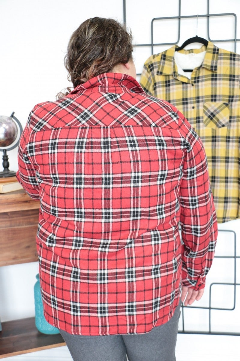 I Surrender All That I Have Plaid Faux Fur Lined Flannel - Multiple Colors - Sizes 12-20