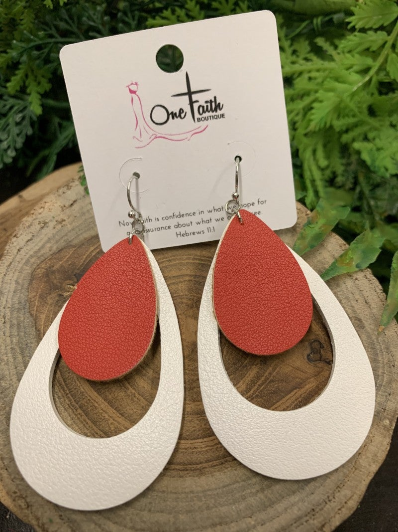 Let's Go To The Game Leather Earrings White/Red